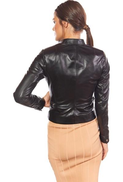 Flora Deri Kadın Ceket Siyah