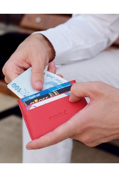 Deri Mini Kartlık Kırmızı