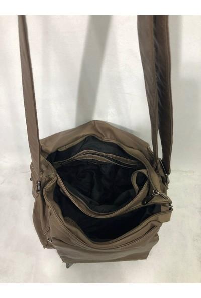 Kavi Kadın Postacı Yıkanmış Deri Çanta Ebat 25CM30CM Vizon