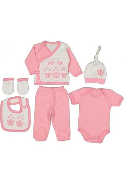 İpeksi Baby 1609 Kız Kelebek Kanaviçeli 6lı Hastane Çıkışı Zıbın Set
