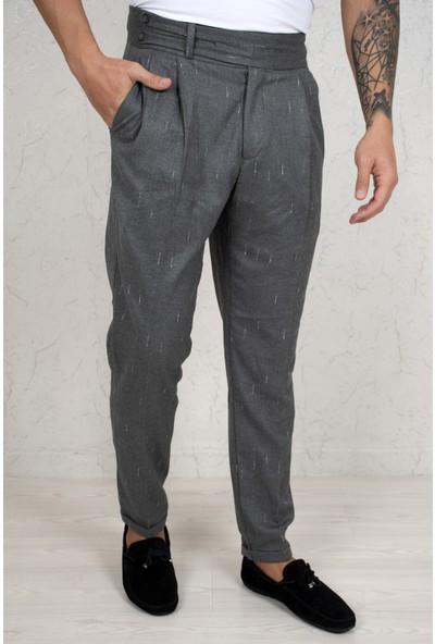 Deepsea Gri Çizgi Desenli Çift Kemer Düğmeli Spor Pantolon 2103420
