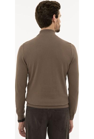 Pierre Cardin Erkek Açık Kahverengi Slim Fit Yarım Balıkçı Yaka Triko Kazak 50233734-VR002