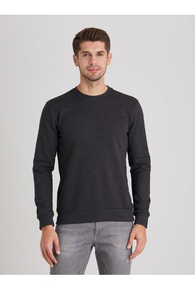 Dufy Antrasit Bisiklet Yaka Düz Erkek Sweatshirt Modern Fit