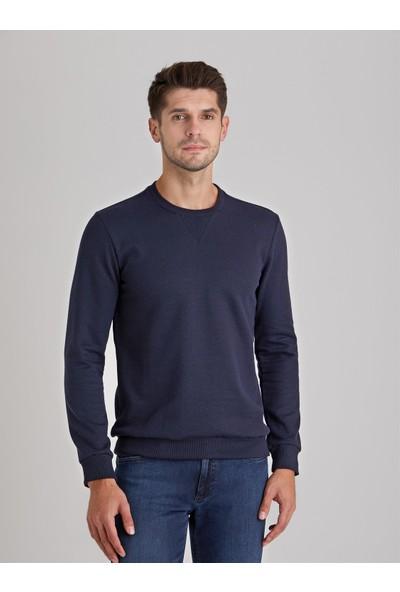 Dufy Lacivert Bisiklet Yaka Düz Erkek Sweatshirt Modern Fit