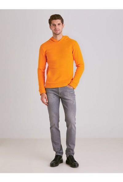 Dufy Sarı İçi Polarlı Kapüşonlu Erkek Sweatshirt Modern Fit