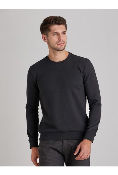 Dufy Siyah Bisiklet Yaka Düz Erkek Sweatshirt Modern Fit
