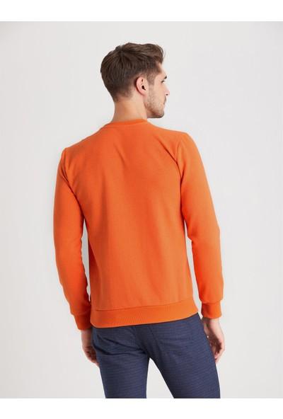 Dufy Turuncu Bisiklet Yaka Düz Erkek Sweatshirt Modern Fit