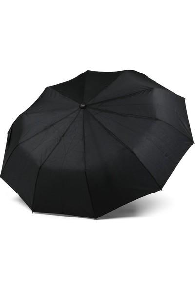 İstoc Trend Almera Tam Otomatik Katlanır Erkek Şemsiye, Siyah, 10 Telli