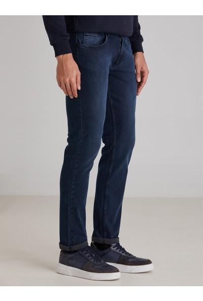 Dufy Açık Lacivert Düz Erkek Kot Pantolon - Slim Fit