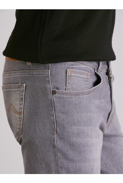 Dufy Gri Düz Erkek Kot Pantolon - Slim Fit