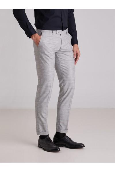Dufy Gri Ekose Desen Klasik Erkek Pantolon - Modern Fit