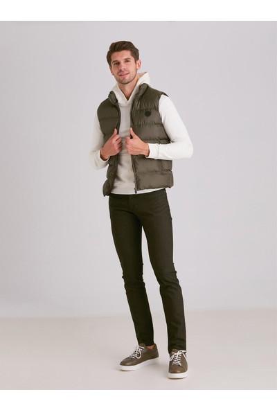 Dufy Haki Viskon Karişimli Şişme Erkek Yelek - Modern Fit