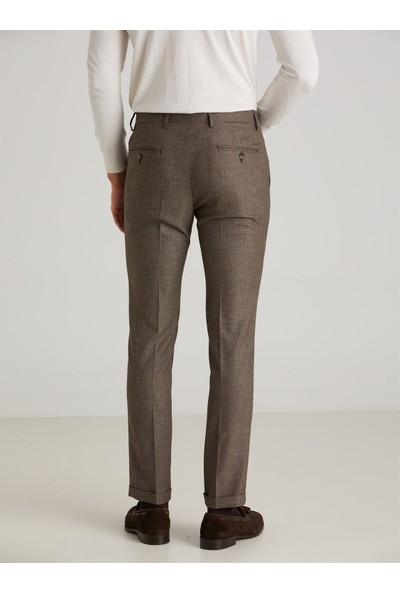 Dufy Kahve Nokta Desen Erkek Pantolon - Slim Fit