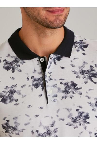 Dufy Lacivert Baski Erkek Tişört - Slim Fit
