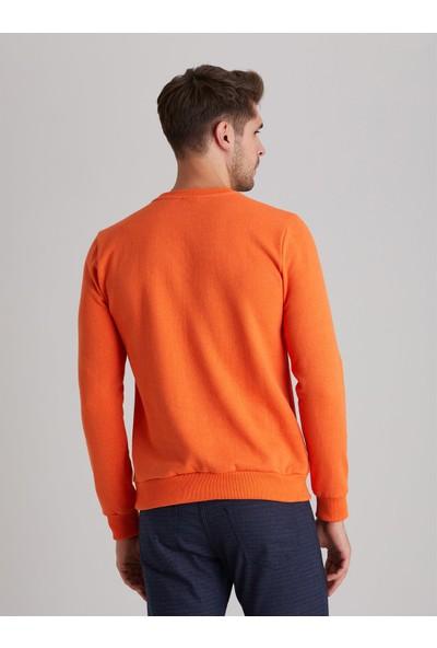 Dufy Turuncu Bisiklet Yaka Düz Erkek Sweatshirt - Modern Fit