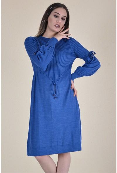 Butik Buruc Kadın Indigo Beli Bağcıklı Fitilli Tunik Elbise