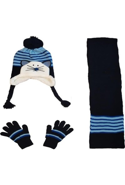 Mavi Fare 3-7 Yaş Çocuk Örme Atkı Eldiven Bere Seti