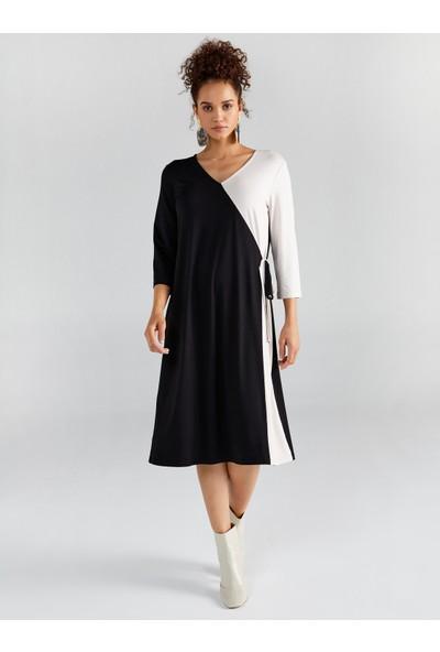 Faik Sönmez Kadın Blok Renkli Kruvaze Örme Elbise 61237