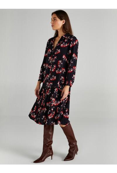 Faik Sönmez Kadın Çiçek Desenli Gömlek Elbise 61232