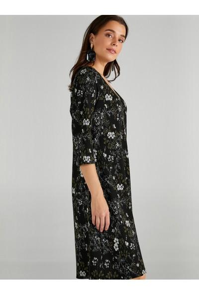 Faik Sönmez Kadın Çiçek Desenli V Yaka Örme Elbise 61234