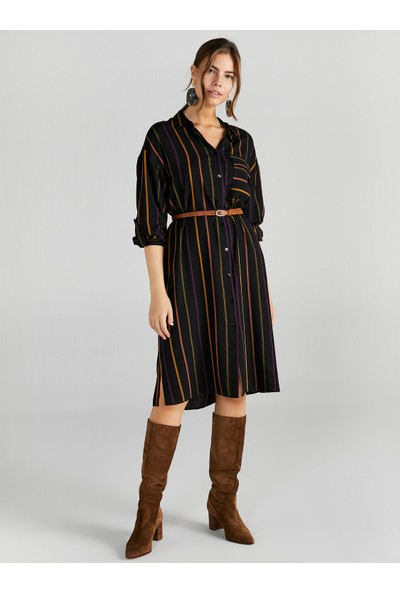 Faik Sönmez Kadın Çizgili Gömlek Elbise 61251