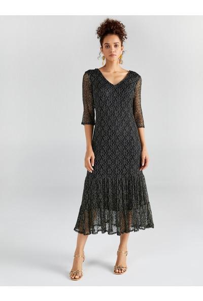 Faik Sönmez Kadın Dantel Midi Boy V Yaka Abiye Elbise 61112