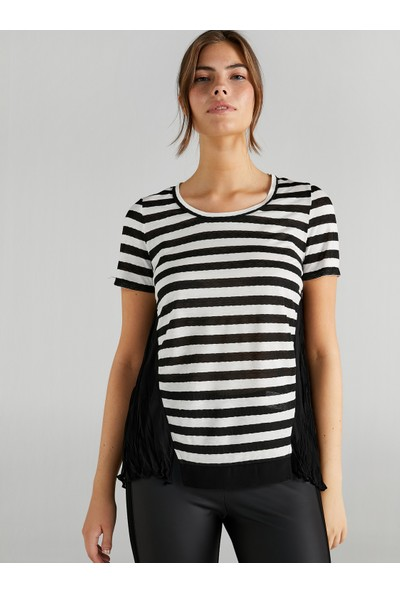 Faik Sönmez Kadın Pilili Şifon Garnili Çizgili T-Shirt 61678