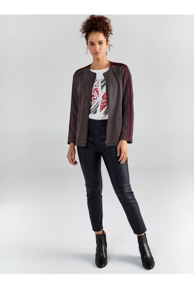 Faik Sönmez Kadın Simli Şerit Detaylı Örme Ceket 61219