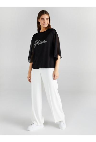 Faik Sönmez Kadın Slogan Taş Işlemeli T-Shirt 61638