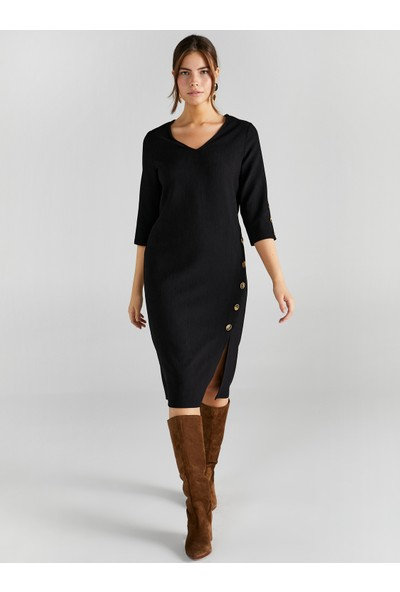 Faik Sönmez Kadın V Yaka Düğme Detaylı Elbise 61233