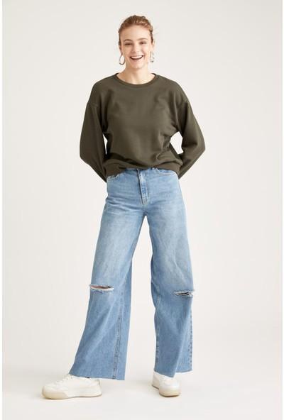 Defacto Bisiklet Yaka Basic Sweatshirt
