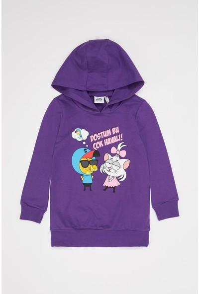 Defacto Kız Çocuk Kral Şakir Lisanslı Tunik Boy Sweatshirt