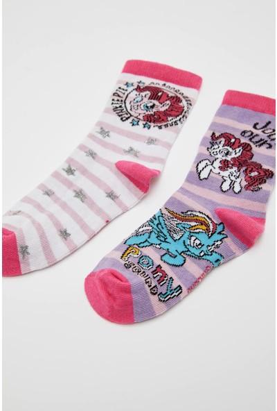 Defacto Kız Çocuk Lisanslı My Little Pony 2'li Soket Çorap