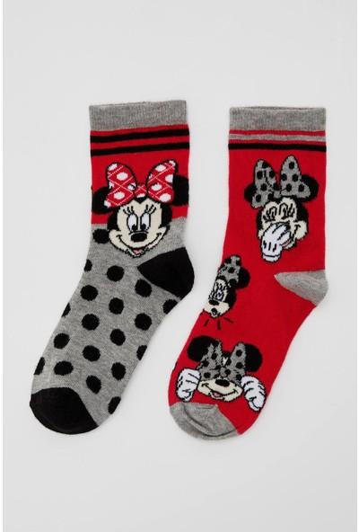 Defacto Kız Çocuk Mickey Mouse Lisanslı 2'li Soket Çorap
