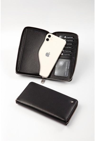Cengiz Pakel Telefon Bölmeli Deri Siyah Kadın Cüzdan 65238T