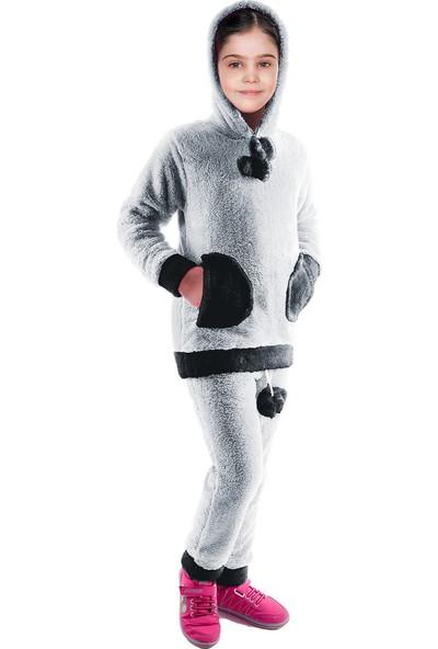 Oulabimir Kürklü Pijama Takımı Kapüşonlu Polar Kız Çocuk Kıyafeti