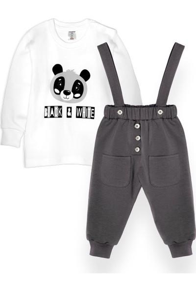 Oulabimir Panda Baskılı Uzun Kollu Baharlık Bahcıvan Pantolonlu Takım