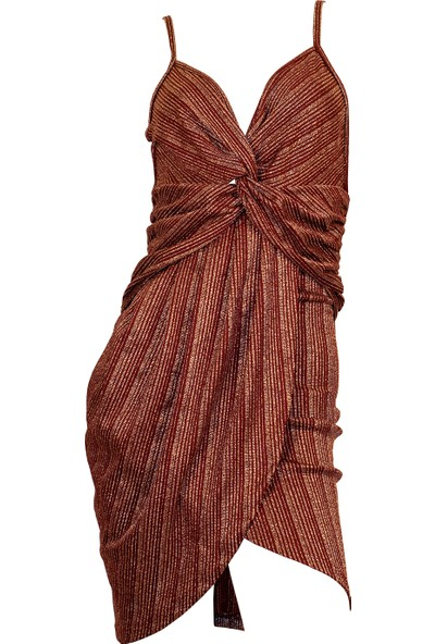 Ergü Bordo Jakarlı Eteği Kruvaze Göğsü Düğümlü Pliseli Elbise