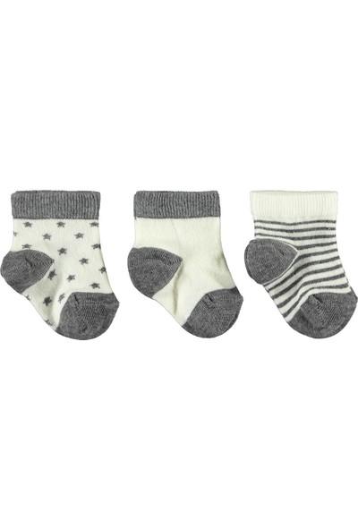Civil Baby Erkek Bebek 3'lü Çorap Set 0-12 Ay Ekru-Gri