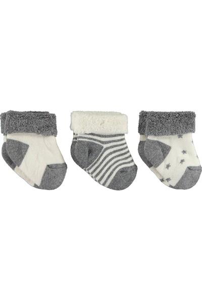 Civil Baby Erkek Bebek Havlu 3'lü Çorap 0-24 Ay Gri