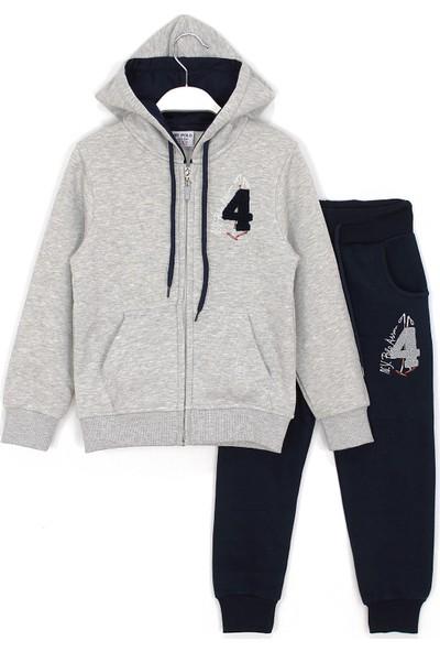 Ny Polo Içi Polarlı Kapüşonlu Fermuarlı Erkek Çocuk Kışlık Eşofman Takımı 4-12 Yaş Gri