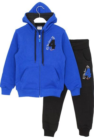 Ny Polo Içi Polarlı Kapüşonlu Fermuarlı Erkek Çocuk Kışlık Eşofman Takımı 4-12 Yaş Mavi