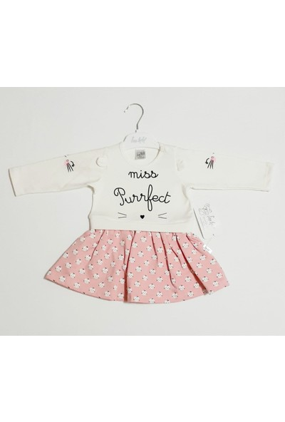 Şan Bebe Ekru Kız Bebek Elbisesi