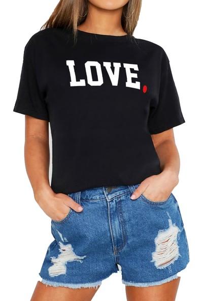 Mack Kadın Love Siyah Boyfriend T-Shirt