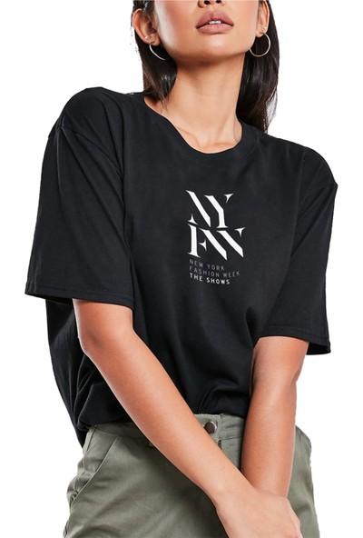 Mack Kadın Nyfw Siyah Boyfriend T-Shirt