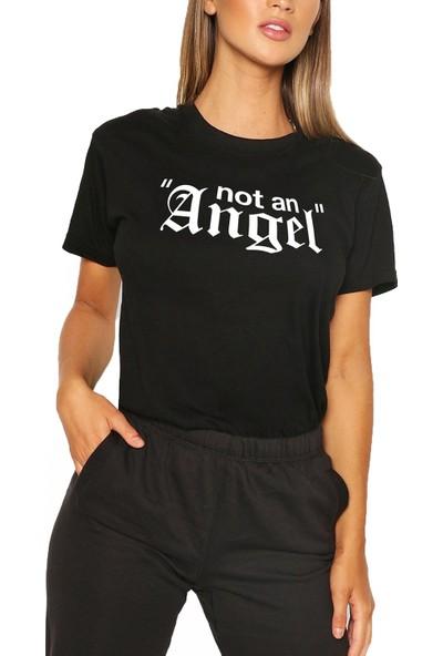 Mack Kadın Not An Angel Siyah Boyfriend T-Shirt