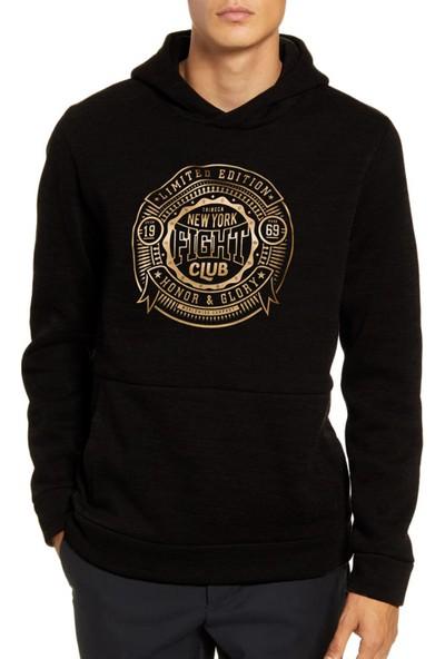 Mack Erkek Fight Club Siyah Kapüşonlu Sweatshirt