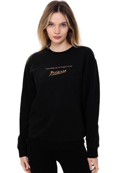 Mack Kadın Pıcasso Siyah Oversize Sweatshirt