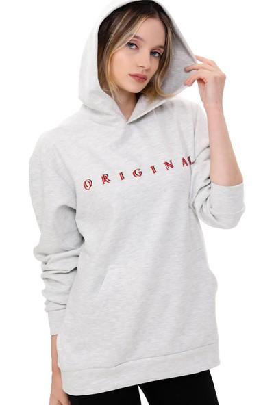 Mack Kadın Gri Kapüşonlu Oversize Sweatshirt