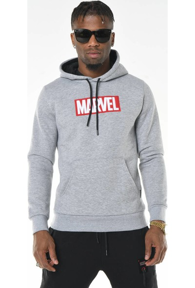 David&Gerenzo Gri Marvel Baskı Kapüşonlu Sweatshirt